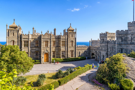 ALUPKA, RUSSIA - MAY 20, 2016:  Vorontsov Palace in the town of Alupka, Crimea. This is a tourist attraction of Crimea.