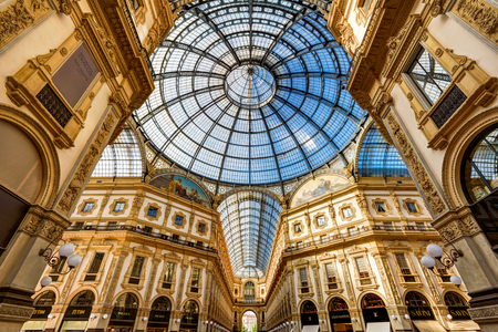 MILAN, ITALY - MAY 16, 2017: The Galleria Vittorio Emanuele II on the Piazza del Duomo in central Milan. This gallery is one of the worlds oldest shopping malls.
