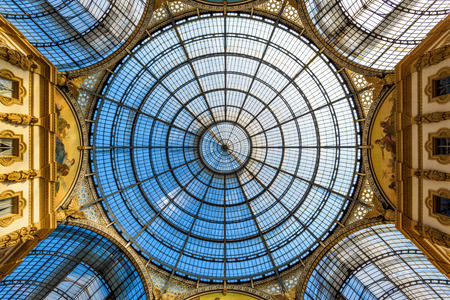 MILAN, ITALY - MAY 16, 2017: The dome of the Galleria Vittorio Emanuele II on the Piazza del Duomo in central Milan. This gallery is one of the world's oldest shopping malls.