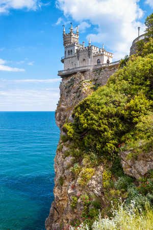 alupka: Swallows Nest castle on the rock over the Black Sea in Crimea, Russia. This castle is a symbol of Crimea. Editorial