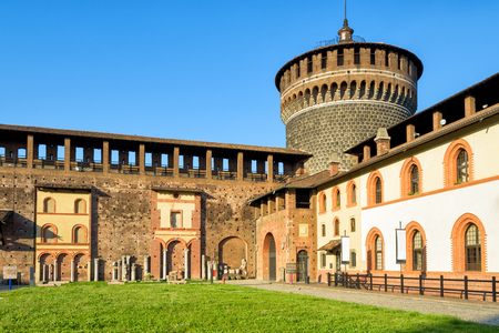 sforza: Sforza Castel (Castello Sforzesco) in Milan, Italy. This castle was built in the 15th century by Francesco Sforza, Duke of Milan. Editorial