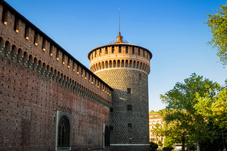 crenelation: Sforza Castel (Castello Sforzesco) in Milan, Italy. This castle was built in the 15th century by Francesco Sforza, Duke of Milan. Editorial