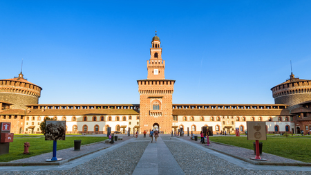 sforza: Milan, Italy - May 22, 2017: Inside the Sforza Castel (Castello Sforzesco). This castle was built in the 15th century by Francesco Sforza, Duke of Milan.