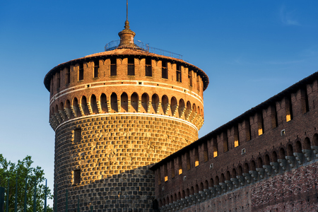 sforza: Sforza Castel (Castello Sforzesco) in Milan, Italy. This castle was built in the 15th century by Francesco Sforza, Duke of Milan. Stock Photo