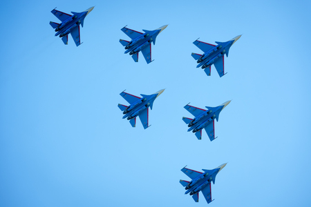 Moscow Region - July 21, 2017: Aerobatic display team Russian Knights on Su-30SM at the International Aviation and Space Salon (MAKS) in Zhukovsky. Stock Photo