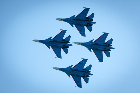 Moscow Region - July 21, 2017: Aerobatic display team Russian Knights on Su-30SM at the International Aviation and Space Salon (MAKS) in Zhukovsky. Editorial