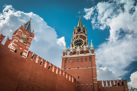 crenelation: The Moscow Kremlin with the Spasskaya tower in the Red Square, Russia. The Moscow Kremlin is the residence of the Russian president and the main tourist attraction of Moscow. Editorial