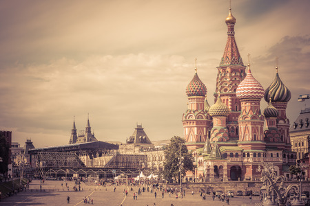 Cathedral of St. Basil in the Red Square in Moscow, Russia Editorial
