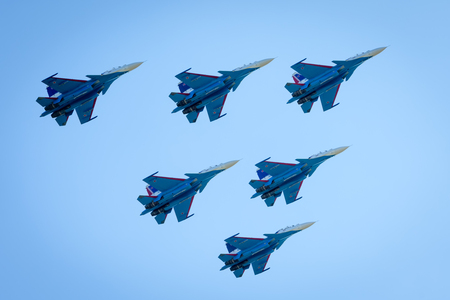 Moscow Region - July 21, 2017: Aerobatic display team Russian Aviation and Space Salon (MAKS) in Zhukovsky.