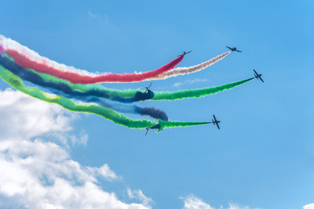 aerobatic: Moscow Region - July 21, 2017: Aerobatic display team from the United Arab Emirates at the International Aviation and Space Salon (MAKS) in Zhukovsky.