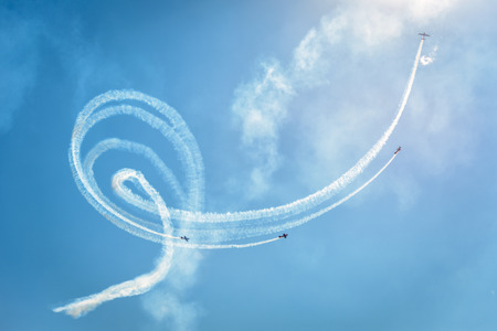 Moscow Region - July 21, 2017: Air show at the International Aviation and Space Salon (MAKS) in Zhukovsky.