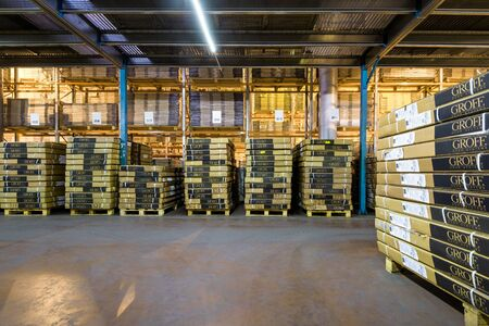 Moscow - August 1, 2017: A lot of the goods are in the large warehouse. Moscow is a modern city with well-developed logistics infrastructure. Editorial