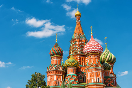The Cathedral of Vasily the Blessed, or Saint Basil`s Cathedral, in the Red Square in Moscow, Russia. St. Basils Cathedral was built in the 16th century and is a symbol of Russian culture.
