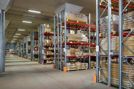 Moscow - August 1, 2017: The large modern warehouse. Moscow is a modern city with well-developed logistics infrastructure.