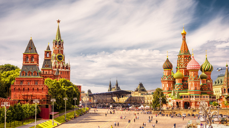 Kremlin and Cathedral of St. Basil in the Red Square in Moscow, Russia. The Red Square is the main tourist attraction of Moscow. Reklamní fotografie