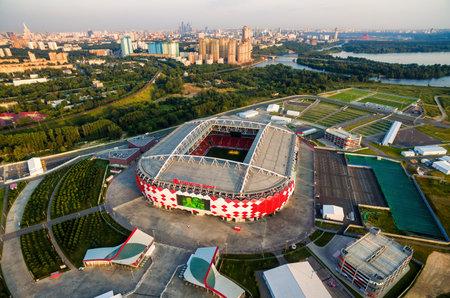 Luchtmening van Spartak-Stadion (Otkritie-Arena) in Moskou, Rusland. Redactioneel