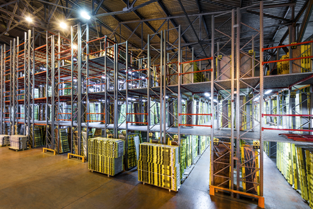 Moscow - August 1, 2017: The large warehouse. Moscow is a modern city with well-developed logistics infrastructure. Editorial