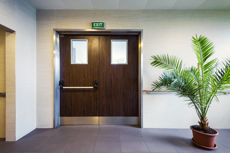 Modern interior with emergency exit in office or clinic Standard-Bild