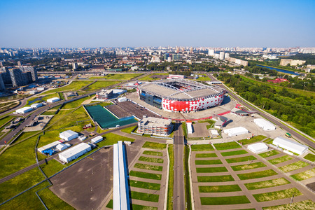 Moscow, Russia - August 21, 2017: Aerial view of Spartak Stadium (Otkritie Arena). Spartak Stadium has been selected for the 2018 FIFA World Cup. Editorial