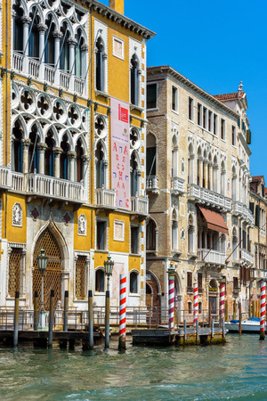 Venice, Italy - May 18, 2017: Beautiful buldings at the Grand Canal. Grand Canal is one of the main tourist attractions in Venice.