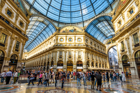 Milan, Italy - May 16, 2017: Inside the Galleria Vittorio Emanuele II on the Piazza del Duomo in central Milan. This gallery is one of the world's oldest shopping malls. Editorial