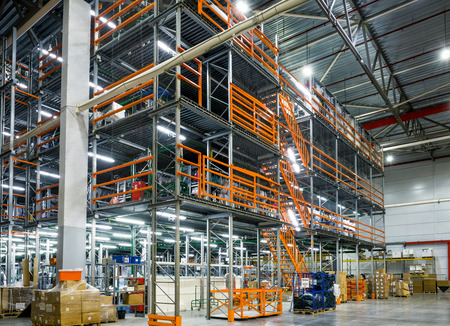 Moscow - March 18, 2016: The large modern warehouse. Moscow is a modern city with well-developed logistics infrastructure.