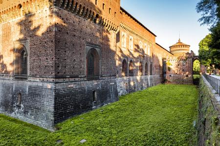 Sforza Castel (Castello Sforzesco) in Milan, Italy. This castle was built in the 15th century by Francesco Sforza, Duke of Milan. Stock Photo