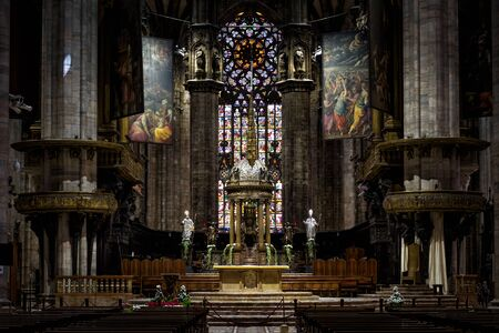 milánó: Milan, Italy - May 16, 2017: Altar of the Milan Cathedral (Duomo di Milano). Milan Duomo is the largest church in Italy and the fifth largest in the world.