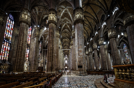 milánó: Milan, Italy - May 16, 2017: Interior of the Milan Cathedral (Duomo di Milano). Milan Duomo is the largest church in Italy and the fifth largest in the world.