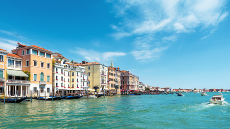 Panoramic view of the Grand Canal in Venice, Italy. Grand Canal is one of the major water-traffic corridors in Venice. 16:9 widescreen. Stock Photo