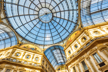 Milan, Italy - May 16, 2017: Interior of Galleria Vittorio Emanuele II on the Piazza del Duomo in central Milan. This gallery is one of the worlds oldest shopping malls. Editorial