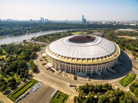 Moskou, Rusland - 19 augustus 2017: Luchtfoto van het Luzhniki-stadion in Moskou.