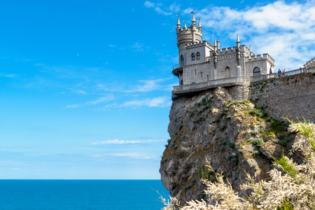 Swallows Nest castle on the rock over the Black Sea in Crimea, Russia. This castle is a symbol of Crimea. Editorial