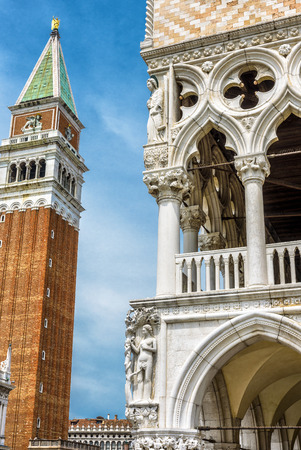 Piazza San Marco (Saint Mark`s Square) with Campanile and Doge`s Palace in Venice, Italy. This is the main square of Venice.