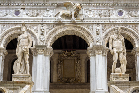 Detail of the exterior of the Doge`s Palace, or Palazzo Ducale, in Venice, Italy. Dode`s Palace is one of the main tourist destination in Venice.