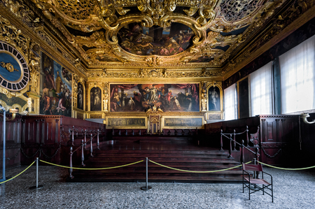Venice, Italy - May 20, 2017: Interior of the Doge`s Palace (Palazzo Ducale), the Senate Chamber. Doge`s Palace was built in 15th cent on St Mark`s Square and is one of the main tourist attractions of Venice. Editorial