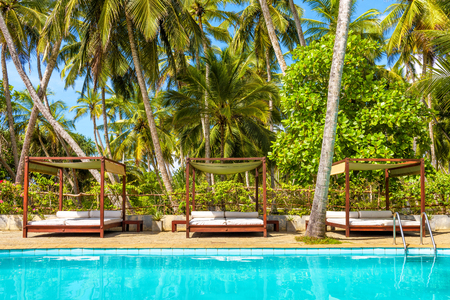Sri Lanka - November 4, 2017: Swimming pool and beach beds in a tropical hotel Editorial