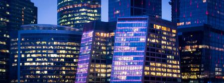 Modern downtown at night, panoramic view