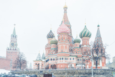 St. Basil`s Cathedral (Intercession Cathedral) on the Red Square in the winter in Moscow, Russia. The Red Square is the main tourist attraction of Moscow.