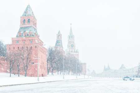 The Moscow Kremlin on the Red Square in the winter, Russia. The Moscow Kremlin is the residence of the Russian president and the main tourist attraction of Moscow.