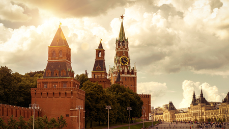 Moscow Kremlin on the Red Square, Russia. The Moscow Kremlin is the residence of the Russian president and the main tourist attraction of Moscow.