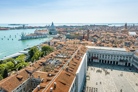 Aerial view of Saint Mark`s Square and ladoon in Venice, Italy.  This is the main square of Venice.