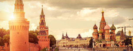 Panoramic view of Moscow Kremlin and Cathedral of St. Basil on the Red Square in Moscow, Russia. The Red Square is the main tourist attraction of Moscow. 스톡 콘텐츠