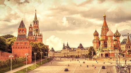Kremlin and Cathedral of St. Basil on the Red Square in Moscow, Russia. The Red Square is the main tourist attraction of Moscow.