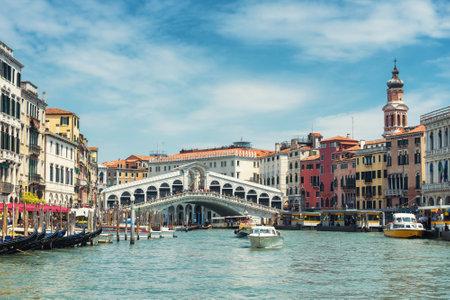 The old Rialto Bridge over the Grand Canal in Venice, Italy. Rialto Bridge (Ponte di Rialto) is one of the main tourist attractions of Venice. Éditoriale
