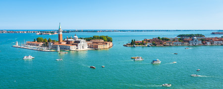 San Giorgio Maggiore church on the island of the same name in Venice, Italy. Aerial panoramic view of the Venetian lagoon.