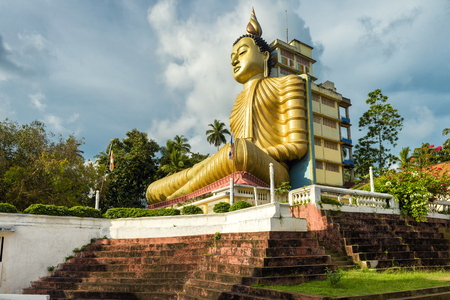 Big Buddha in the Wewurukannala Vihara old temple in the town of Dickwella, Sri Lanka. A 50m-high seated Buddha statue is the largest in Sri Lanka.