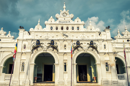 Facade of Wewurukannala Vihara temple in the town of Dickwella, Sri Lanka. This is the old Buddhist temple.
