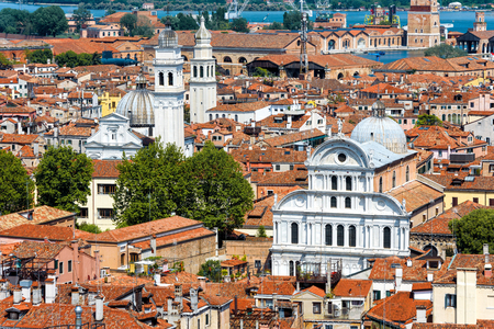 Aerial view of Venice with old houses, Italy