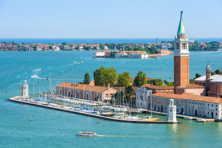 Panoramic aerial view of Venetian lagoon with islands in Venice, Italy. San Giorgio Maggiore island in the foreground.  Éditoriale